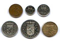 stuiver, dubbeltje, kwartje, gulden, rijksdaalder, vijfje.