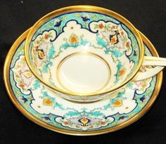 Minton TURQUOISE Artsy Deco Xquisite simplyTclub Tea cup and saucer