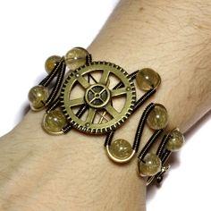 Steampunk JEWELRY | Steampunk Jewelry - Bracelet - Golden Rutilated ... | Steampunk Jewel ...