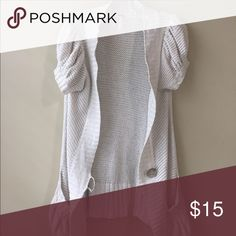 Free People Short Sleeve Sweater Knit short sleeve sweater. One small pull on pocket. Button loop is a little loose. Size large. Grey metallic. Free People Sweaters Cardigans