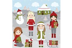 Christmas Girls Set by LoveGraphicDesign on Creative Market