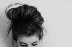 black & white messy bun
