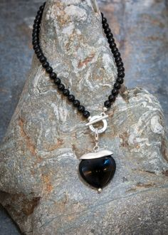 Pranella Black Booba Long Heart Neckalce | Villancher Fashion Jewellery Boutique