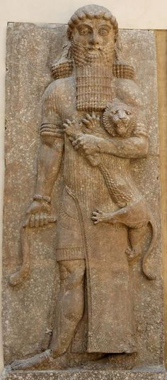 Statue of Gilgamesh with a possible representation of Enkidu, from the palace of Sargon II at Dur Sharrukin (now Khorsabad, near Mossul), 713-706 BC.