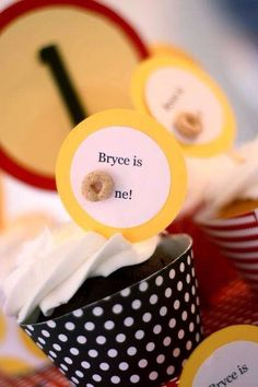 Cheerios 1st birthday party cupcakes! See more party ideas at CatchMyParty.com!