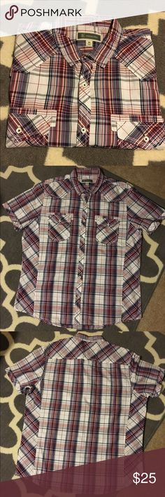 INC Plaid Shirt-S/S Short sleeved plaid button down shirt. Dark red, white,& blue. Excellent, like new condition. 100% cotton. INC International Concepts Shirts Casual Button Down Shirts