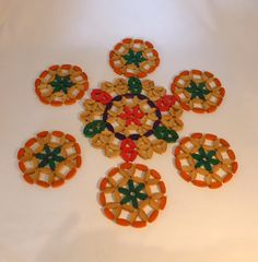 Vintage Wooden flower coasters with central by RetroriginalUK  Wooden  Flower  Coaster  Placemat  Beaded  Mexican  orange  green  pink purple  vintage  retro  gift