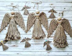 @DLThandmade #madewithlove #homedecor- angel- big size: 60 cm & small size: 15 cm Macrame Patterns, Loom Patterns, Fabric Patterns, String Wall Art, Angel Crafts, Micro Macramé, Macrame Design, Crochet Rope, Macrame Knots