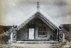 Photograph (black and white); exterior of a Maori marae (community meeting… Once Were Warriors, Maori People, Polynesian Art, Maori Designs, New Zealand Art, Maori Art, A Frame Cabin, Kiwiana, Architectural Elements