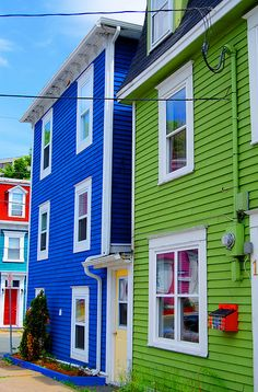 Colorful Jellybean homes in St. John's, Newfoundland.