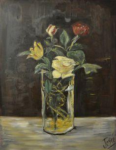 Bouquet au vase transparent  Huile sur toile de coton par Arbacane
