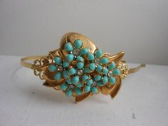 Aqua blue floral and gold headband upcycled vintage by 2007musarra, $42.99