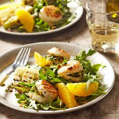 Orange Pistachio-Stuffed Grilled Scallops. Scallops turn any meal into a reason to celebrate, especially when stuffed with an orange, fennel, and pistachio gremolata. Perfect the juicy grilled seafood with a bed of arugula and drizzle of honey-sweetened balsamic vinaigrette