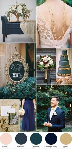 Dark blue wedding color schemes ,Dark Blue And Gold Wedding Theme, fall wedding palette, peacock wedding color Gold Wedding Theme, Fall Wedding, Wedding Blue, Wedding Vintage, Wedding Reception, Vintage Theme, French Blue Wedding, Budget Wedding, Wedding Venues