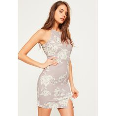 Missguided Crepe Floral 90's Neck Bodycon Dress ($33) ❤ liked on Polyvore featuring dresses, short dresses, floral bodycon dress, grey dresses, grey floral dress and gray bodycon dress