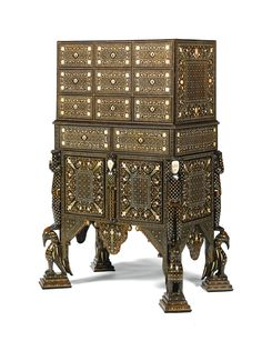 A HIGHLY IMPORTANT IVORY-INLAID INDO-PORTUGUESE CABINET OF ROYAL PROVENANCE, GOA, INDIA, LATE 17TH CENTURY