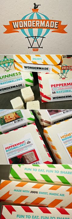 WONDERMADE marshmallows, boxes were designed by The Heads of State and printed letterpress by Studio on Fire