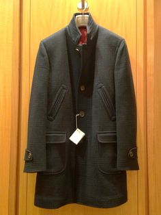 Men's wool and cashmere black and navy plaid overcoat from Brunello Cucinelli!