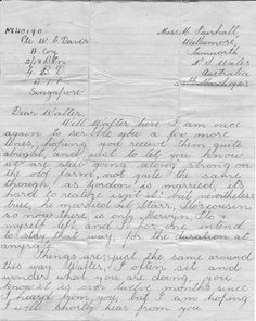 The last letter from home to a POW, 1943.  This letter was posted to a prisoner of war when Singapore fell. The letter was sent before the sender had been notified that he was a prisoner. He died in a POW camp at Nomachi, Japan, on 4 August 1945 and buried in Labuan. This letter was returned with his effects. #Letter