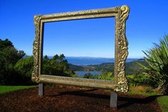 These huge photo-frames were put up in Regional Parks by Auckland Regional Council. This one is at Arataki Visitor Centre, Waitakere ranges in Auckland Nz History, Art Intervention, Long White Cloud, New Zealand Houses, Park Pictures, Kiwiana, South Pacific, Auckland, Homeland
