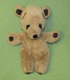 "Vintage Gund STITCH Teddy Bear 1979 Plush Stuffed 16"" Tan Black Eyes Paws Lovie #Gund"