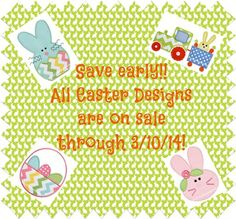 Early Easter Sale www.appliquecafe.com