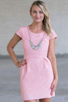Pale Pink Sheath Dress, Cute Work Dress, Pink Summer Dress, Cute Cocktail Dress