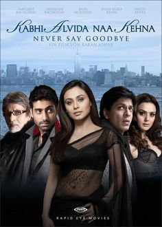 Kabhi Alvida Naa Kehna - 2006 (English: Never Say Good Bye), also known as KANK, a Indian romantic drama musical film directed by Karan Johar and produced under the Dharma Productions banner. Stars; Shah Rukh Khan and Rani Mukerji with Abhishek Bachchan, Preity Zinta, Amitabh Bachchan, and Kirron Kher.  Arjun Rampal also makes a special appearance.  Introduced at the Tokyo International Film Festival.