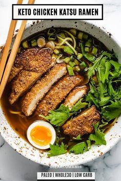 Chicken Katsu Ramen Bowl Recipe made keto/whole30/paleo! Air fried katsu chicken with keto ramen noodles are the best combo for ramen lovers! #chickenkatsu #airfryerrecipes #ramen #lowcarbrecipes #ketorecipes