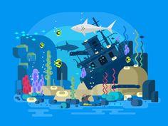 Sunken ship under water by Anton Fritsler (kit8)