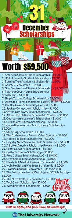December Scholarships 'Tis the season to apply to scholarships! Here are 31 scholarships with December deadlines that every college student can apply to, no matter their field of study! Good luck and happy holidays! :) – College Scholarships Tips School Scholarship, Student Scholarships, College Students, Student Loans, Graduate School, College Checklist, College Planning, College Hacks, College Dorms
