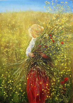 Painting oil Girl with flowers Woman original painting on canvas Nature painting Flowers artwork Woman picture Woman flower art Gift for her