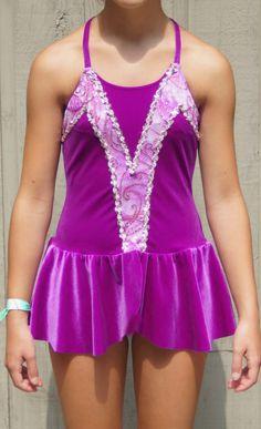 Sz L Dark Pink Sparkly Professional Dance Figure Skating Dress Costume | eBay