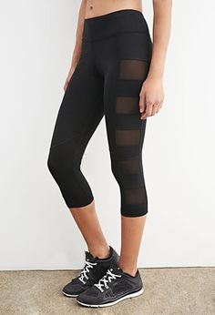 Mesh-Paneled Capri Leggings | Forever 21 - 2000173097 | Active ...