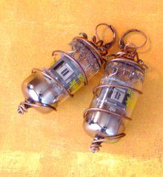 Steampunk Radio Vacuum Tube Earrings