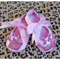Pink Princess Baby Shoes with Glitter Crown