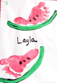 Here's a fun summer keepsake you can make with your little ones ~ footprint watermelons! I found this on Pinterest with no source so let me know if you made it! Supplies Needed: Washable pink, green, and brown paint Feet White card stock paper Paintbrush Paint your kids feet with pink and stamp it on …