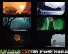 Check out our latest environment tutorial for Citizen members on thumbnailing environments: http://cgcookie.com/concept/2013/11/05/environment-thumbnailing/