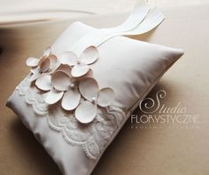 Romantic ring pillow with lace-handmade