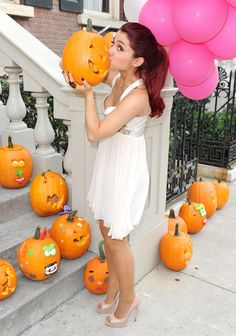 Ariana Grande - Hot Dress Kissing A Pumpkin