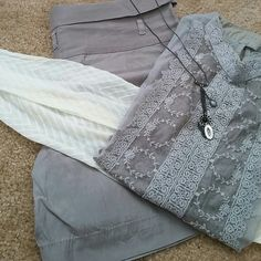 "Ann Taylor LOFT Slate Gray Dress Shorts Super soft dress shorts! Cool enough for summer but look great with your boots & tights in cooler months! Worn once! Belt loops for a skinny belt. Buttoned foldover waist flatters your waistline & hides any lumps. Zip fly. Subtle pleats. Pockets on each hip & 2 back slash pockets. 75% Rayon. 25% Cotton. Waist: 17"" Inseam: 5""  *Returned from dry cleaners w/discoloration under right back pocket. Slightly noticeable. Cleaning may remove. See last pic…"