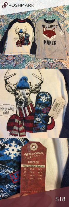 NWT boys 4t long sleeve shirts(2) Arizona jeans deer with a snowboard shirt is dark blue and cream new retail $14.00.   Fox mischief maker shirt is okie dokie brand and it is gray and blue. Retails $12.00.Both are 4t. Shirts & Tops Tees - Long Sleeve