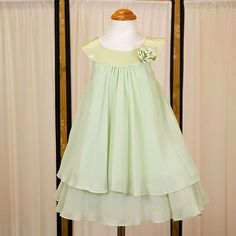 ivory and sage flower girl dress 6 months   Sage Green - Satin bib necklin & chiffon A-line dress - Girls Flower ...