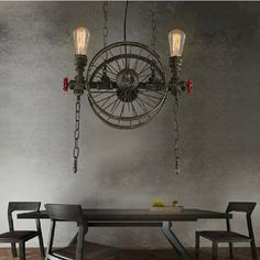 American Country Retro Industrial Black / Iron Wheels Pendant Light Loft Style Wrought Iron Droplight for Restaurant Bar Cafe  #Affiliate
