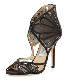 Jimmy Choo Kole Crystal Mesh Sandal  Crystals highlight the sensual curves of this Jimmy Choo mesh and suede sandal.