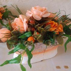 Blumengesteck Blumen Hochzeit Tischdeko Buffet Tafel orange