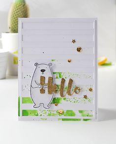 Hello Bear Card from the Handmade by olikka blog. #EllenHutsonLLC…