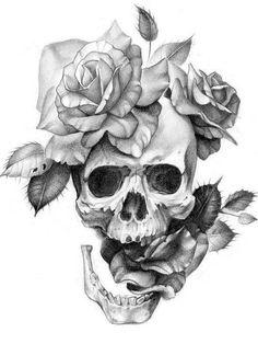 Skull Rose Tattoos, Flower Tattoos, Body Art Tattoos, Sleeve Tattoos, Skull Tattoo Flowers, Pretty Skull Tattoos, Key Tattoos, Butterfly Tattoos, Foot Tattoos