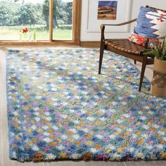 Bungalow Rose Temperence Hand-Tufted Wool/Cotton Ivory/Blue Area Rug Rug Size: Rectangle x Flokati Rugs, Shag Rugs, Rug Shapes, Hand Tufted Rugs, Indoor Rugs, Online Home Decor Stores, Woven Rug, Casablanca, Runes