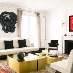 ClaudeMIssir . Paris . Art. Interior. Thomas houseago . Blk. Gold. Karen…